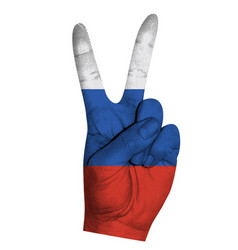 victoria finger gesture with russian federation vector image