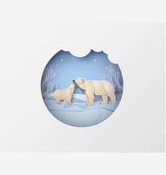 Wildlife winter scenes with polar bear vector