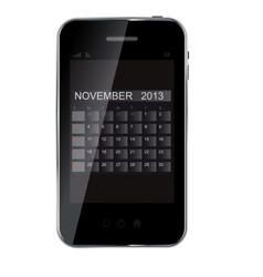2013 year calendar on abstract design phone vector image vector image