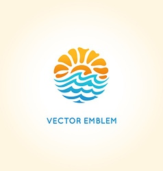 Abstract logo design template - sun and sea vector