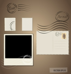 Blank grunge post stamps postcard and photo frame vector image