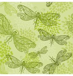 flying green dragonflies vector image vector image