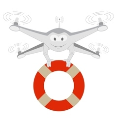 Funny drone lifeline isolated vector