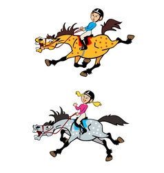 girl and boy riders vector image