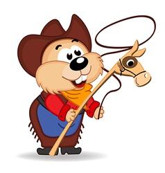 hamster cowboy vector image vector image