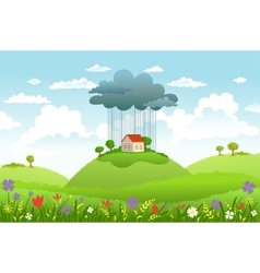 Rain over one house vector image vector image