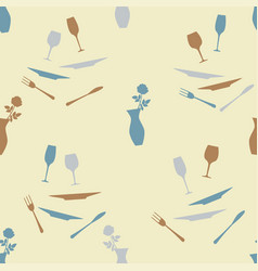 seamless pattern with cutlery and vase with vector image