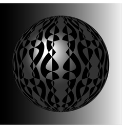shiny silver sphere with black pattern vector image