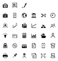 33 black business icons vector