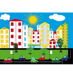 Color city background vector image vector image