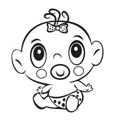 Funny baby girl Cute baby girl sitting in a diaper vector image