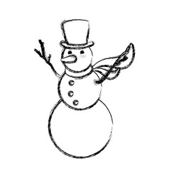 snowman christmas cartoon vector image vector image