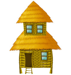 wooden hut with two stories vector image
