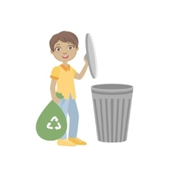 Boy Taking Out Recycling Garbage Bag vector image vector image