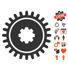 cogwheel icon with dating bonus vector image