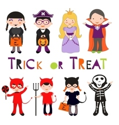 Cute colorful Halloween kids set vector image