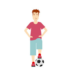 flat boy stands with football ball isolated vector image vector image