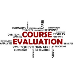 word cloud course evaluation vector image vector image
