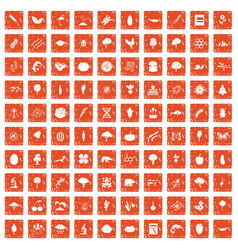 100 microbiology icons set grunge orange vector
