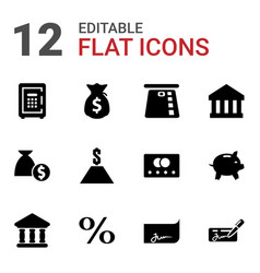 12 banking icons vector