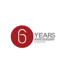 6 years anniversary logotype design with big red vector
