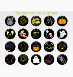 a happy halloween user interface icon set vector image