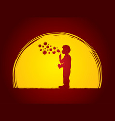 a little boy blowing soap bubbles vector image