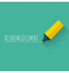 Acknowledgment word concept design with yellow vector image