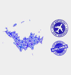 airflight composition saint barthelemy map vector image