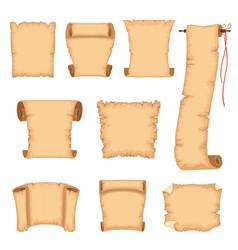 ancient paper scrolls set parchments vector image