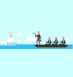 arab busineesgroup on boat with team leader vector image