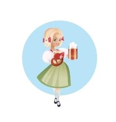 Attractive woman in dirndl with beers vector