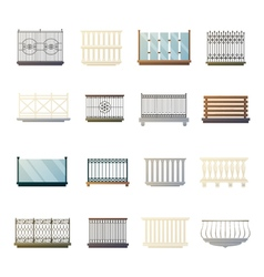 Balcony Railings Design Flat Icons Collection vector image