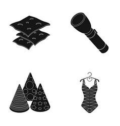 Beach pool and other web icon in black style vector