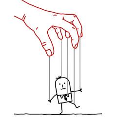 Big hand and cartoon businessman - puppet vector