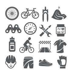 biking icons set on white background vector image