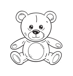 black and white a funny cartoon teddy bear toy vector image