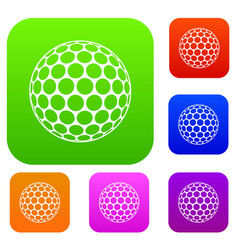 black and white golf ball set color collection vector image