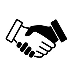 black and white handshake or hand shake icon vector image