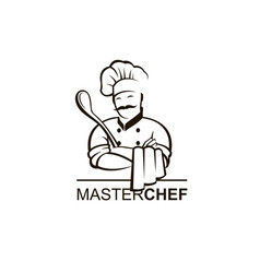 black chef icon vector image