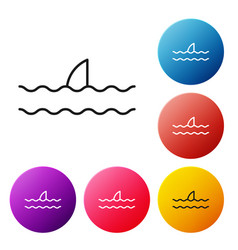 Black line shark fin in ocean wave icon isolated vector