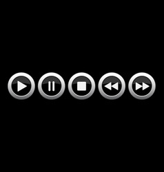 black metallic music control buttons set vector image