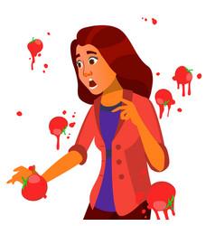 Business woman having tomatoes fail speech vector