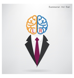 Businessman symbol with left and right brain sign vector