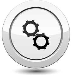 Button with gear icon vector