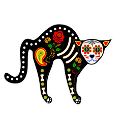 calavera cat isolated on white vector image