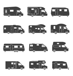 Camping trucks black glyph icons set vector