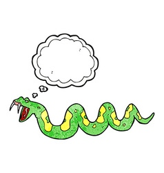 Cartoon poisonous snake with thought bubble vector