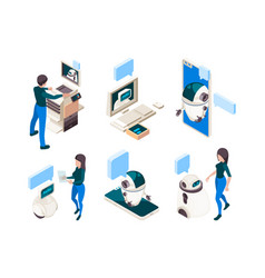 chatbot isometric people conversation with smart vector image