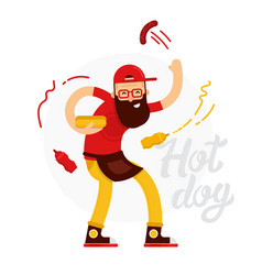 cheerful hot dog seller man makes the hot dog with vector image